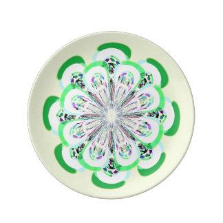 Placa verde amarilla limón del fractal de la flor plato de cerámica