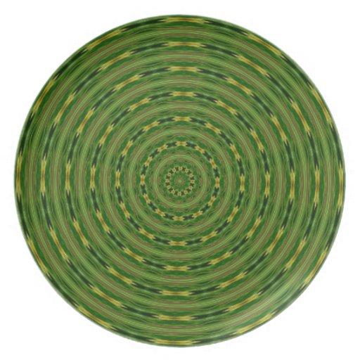 Placa verde concéntrica de los círculos platos para fiestas