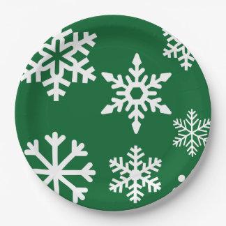 Placa verde de la fiesta de Navidad del copo de Platos De Papel
