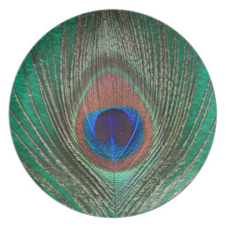 Placa verde de la pluma del pavo real plato de cena