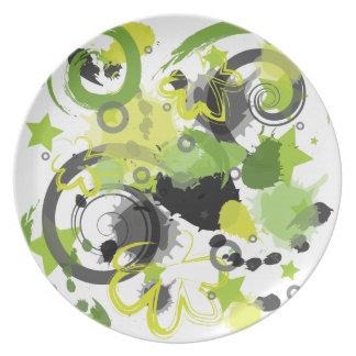 Placa verde de la salpicadura plato para fiesta