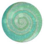 Placa verde de menta de la brisa de mar platos