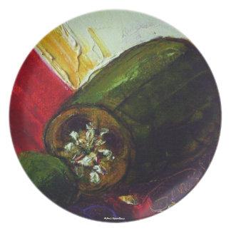 Placa verde del Jalapeno Platos Para Fiestas