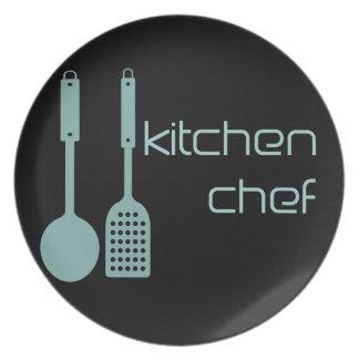 Placa verde del logotipo de la cocina de la aguama plato