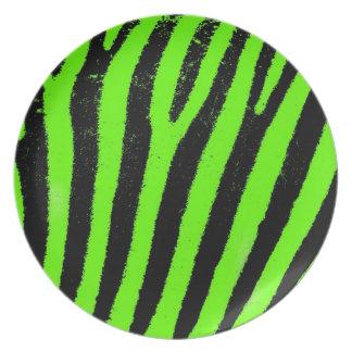 Placa verde del melanine de la cebra plato para fiesta
