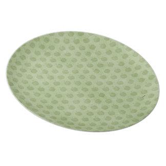 Placa verde del modelo de las manzanas plato de comida