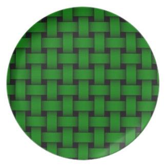 Placa verde del navidad de la armadura plato de cena