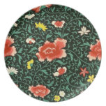 Placa verde floral china platos para fiestas