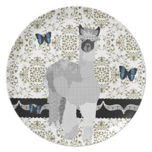 Placa verde oliva del damasco de la mariposa de plato de cena