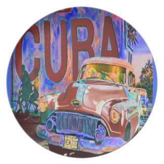 PLACA VIEJA DE BUICK DEL CUBANO PLATO DE CENA