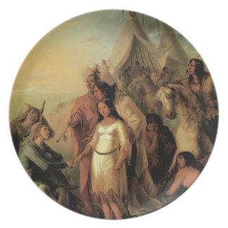 Placa vieja de los indios de la novia de los tramp platos