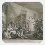 Placa VIII del progreso de un rastrillo, 1735 Calcomanía Cuadradas Personalizada