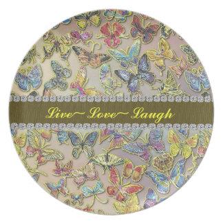 Placa viva del regalo del colector de mariposa del platos