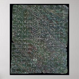 Placa votiva con una inscripción venetic póster