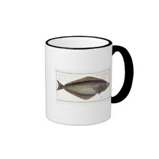 Placa XLVII franco del halibut (Hippoglossus del P Taza De Café