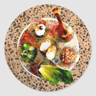 Placa y Matazah de Seder Pegatina Redonda