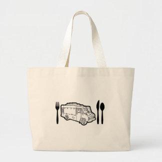 Placa y utensilios del camión de la comida bolsas