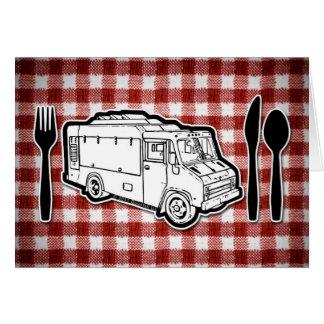 Placa y utensilios del camión de la comida felicitación
