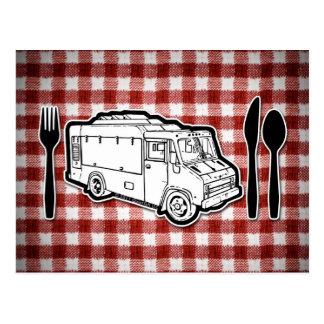 Placa y utensilios del camión de la comida postales