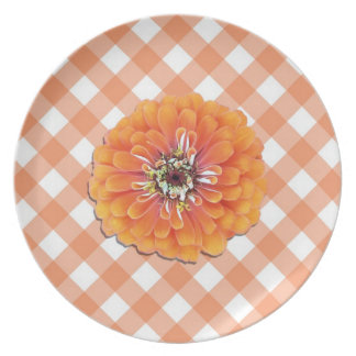 Placa - Zinnia anaranjado en enrejado Plato Para Fiesta