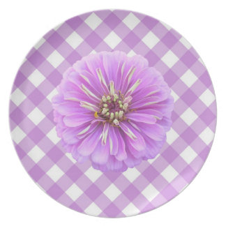 Placa - Zinnia de la lila en enrejado Platos De Comidas