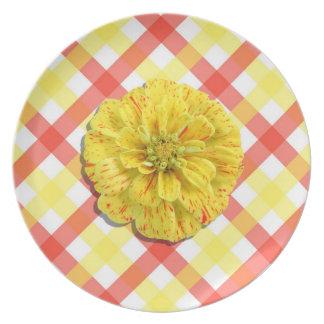 Placa - Zinnia de la raya del caramelo en enrejado Platos De Comidas