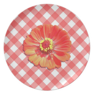 Placa - Zinnia rojo en enrejado Platos De Comidas