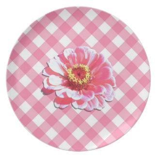 Placa - Zinnia rosado en enrejado Platos De Comidas