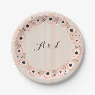 Placas adaptables de la ducha del monograma de la platos de papel