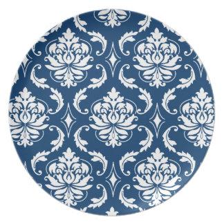 Placas azul marino y blancas de la melamina del mo platos