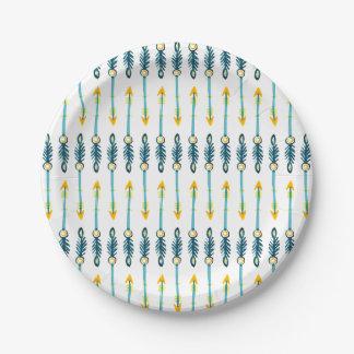 placas azules amarillas elegantes de las flechas platos de papel