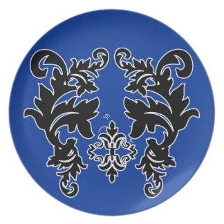 Placas azules blancos y negros del modelo del dama platos para fiestas