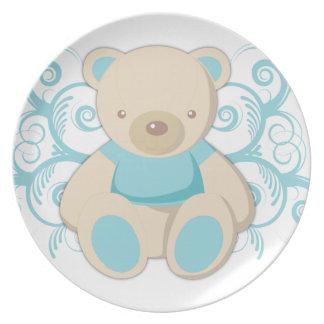 Placas azules del personalizado del oso de peluche platos para fiestas