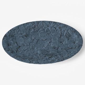 Placas azules esculpidas del fiesta del Gris-Papel Platos De Papel
