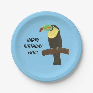 Placas coloridas del feliz cumpleaños del pájaro plato de papel de 7 pulgadas