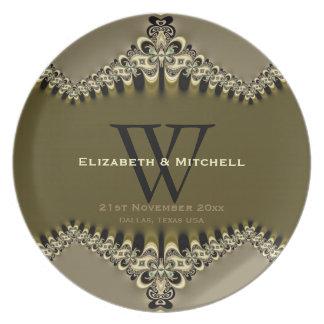 Placas cones monograma del boda del vintage plato