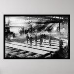 Placas de acero en el molino 1914 posters