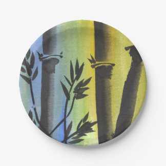 Placas de bambú azules y amarillas chinas plato de papel de 7 pulgadas