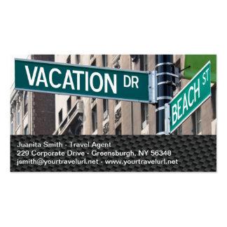 Placas de calle de la playa de las vacaciones de v tarjeta de visita