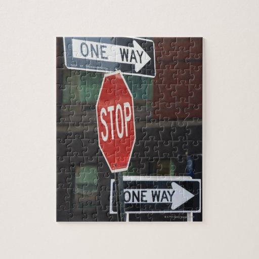 Placas de calle rompecabeza con fotos