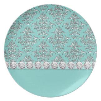 Placas de cena azules del trullo elegante plato de comida