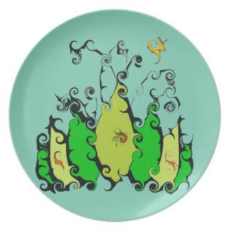 Placas de cena con diseño frondoso platos de comidas