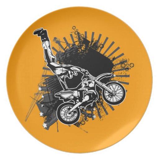 Placas de cena del puente del Grunge de Motorcross Platos