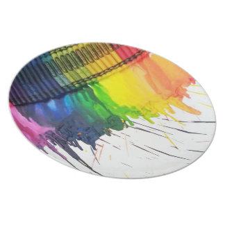 Placas de cena derretidas arco iris del arte del c plato de cena