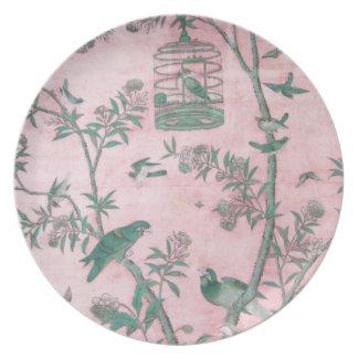 Placas de cena florales chinas del vintage plato