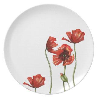 Placas de cena rojas del diseño floral de la amapo plato