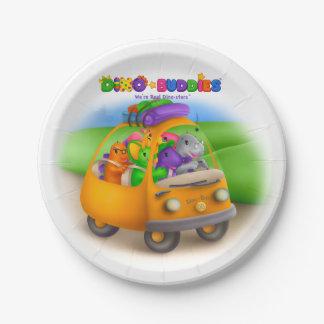Placas de Dino-Buddies™ - Dino-Autobús Plato De Papel De 7 Pulgadas