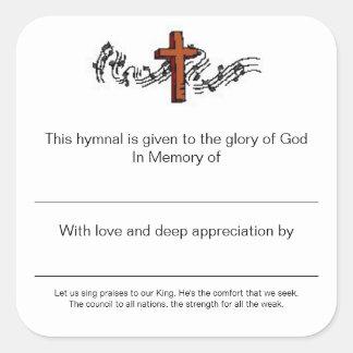 Placas de himnos en memoria de pegatina cuadrada