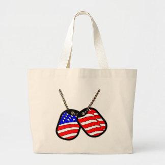 Placas de identificación de la bandera americana bolsas