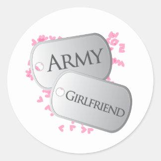 Placas de identificación de la novia del ejército pegatina redonda